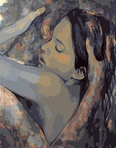 数字キットによるDIY油絵ペイントブラシ付きの大人用キッズペイントペイントキッズ初心者用キャンバス16x20インチ(フレームなし)-美と男性