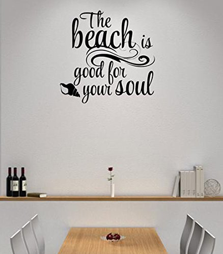 Design with Vinyl Moti 1804 2 the Beach is Good for Your Soul Living Room Bedroom Quote Peel & Stick Wall Sticker Decal, 16'' x 16'', Black by Design with Vinyl
