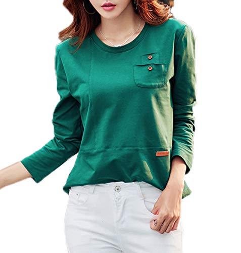 Slim Col Tees Fashion T Shirts Longues Manches Shirts Blouse et Sweat Rond Vert Hauts Automne Shirts Tops Casual Femmes Jumpers Printemps 4wqXv6g