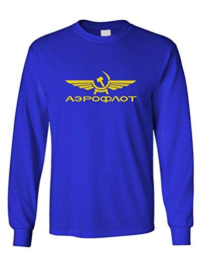 Aeroflot Airlines (AEROFLOT - retro funny russian airline Long Sleeved T-Shirt, M, Royal)