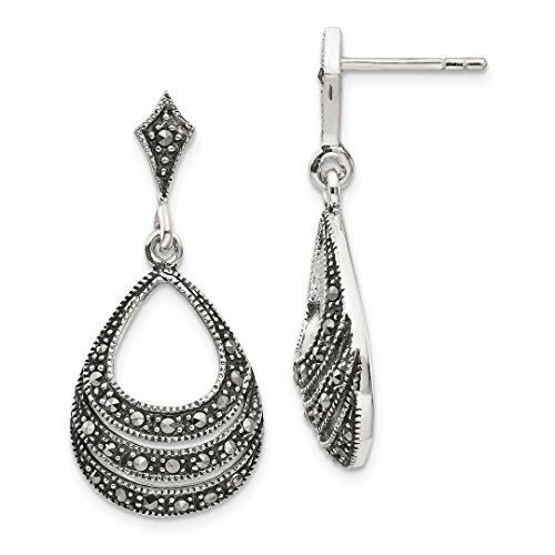 Round Marcasite Set - 925 Sterling Silver Marcasite Post Stud Earrings Drop Dangle Fine Jewelry For Women Gift Set
