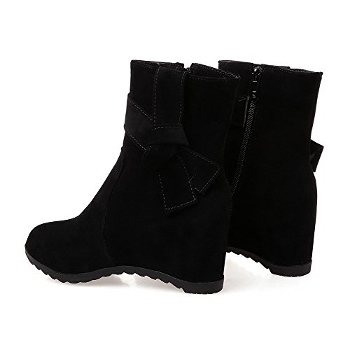 AllhqFashion Womens Imitated Suede Kitten Heels Round Closed Toe Solid Zipper Boots Black yMuY1gR