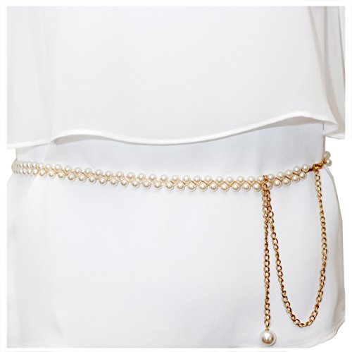 eVogues Plus Size Adjustable Pearl Chain Link Waist Belt 181020 - One Size Plus