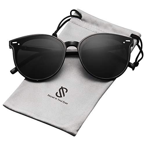 SOJOS Classic Round Retro Plastic Frame Vintage Inspired Sunglasses BLOSSOM SJ2067 with Black Frame/Grey ()