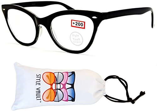 The Vault Club Halloween (E3066-vp Style Vault Cateye Reading Glasses (L2987E +2.00 Black,)