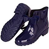 YOOEEN Womens Rain Boots Short Rubber Boot Waterproof Work Garden Shoes Anti-Slip Outdoor Ankle Wellies Navy Blue, 10 M US
