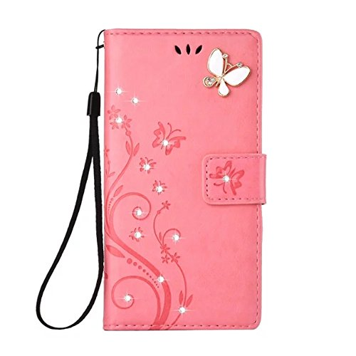 LG G6 Case,LG G6 2017 Wallet Case Fashion Handmade 3D Bling Diamond Butterfly PU Leather Card Holder Cover Kickstand Protective Case for LG G6 2017 (P…