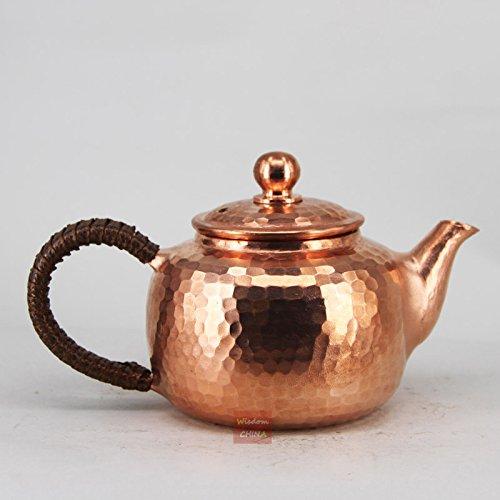 China Full Handmade Red Copper Pot Hammered Metalware Teapot Tea Brewer 220ml -B