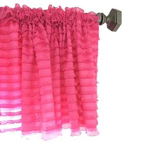 A Vision to Remember Hot Pink Sheer Ruffle Valance Extra Wide Window Treatment ()