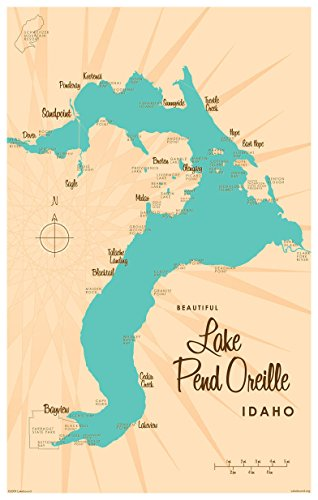 Northwest Art Mall Lake Pend Oreille Idaho Map Vintage-Style Art Print by Lakebound (12
