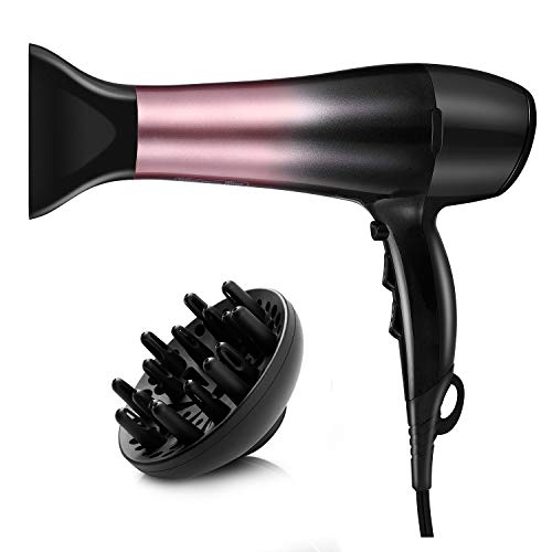 KIPOZI 1875W Ionic Hair Dryer, Professional Powerful Fast Dry Blow Dryer, Lightweight and Quiet Salon Hairdryer- with Diffuser and Concentrator Attachments, Adjustable Heat & Speed, Black Pink