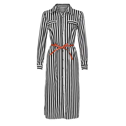 Fartido Women Stripe Printed Long Sleeves Button Chemise Long Dress with Belt (B-Black, 2XL)