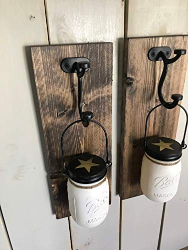 Rustic Wall Sconce Wood Wall Sconce Set of 2 Sconce Mason Jar Sconce Set Mason Jar Wall Sconce - Cottage Garden Wall Vase