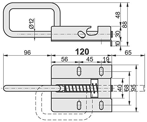 KOTARBAU Torriegel 120//12 mm T/ürriegel Bolzenriegel Sektonaltor Federriegel Schubriegel Torschlossriegel Torschieber T/ürschieber Verzinkt Silber
