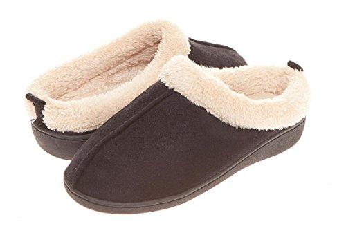 Seranoma Da Donna Comfort Faux Fur Slip On Memory Foam Ciabatte Da Casa Indoor Cls Snsl-black