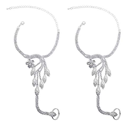 Bellady Women's Foot Chain 2 Pcs Barefoot Sandals Anklet Beach Wedding Jewelry,Silver_Style 8 ()