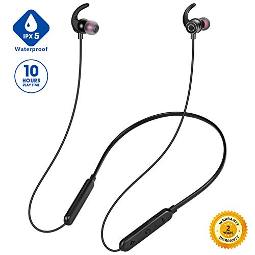 2019 Upgraded Bluetooth Headphones Neckband, Premium 10hrs Wireless Sports Headphones for Workout Gym Running, Junesh IPX5 Waterproof Headphones w Mic, Magnetic Earphones Earbuds for Android iOS