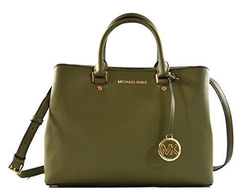 Michael Kors Savannah Saffiano Leather Large Satchel Crossbody Bag Purse Handbag (Duffle)