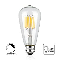 Bango 10w Edison Style Vintage Led Filament Light Bulb,dimmable 6000k Daylight E26 Medium Base Lamp, St21(st64) Antique Shape, Transparent Glass Cover, 100w Equivalent