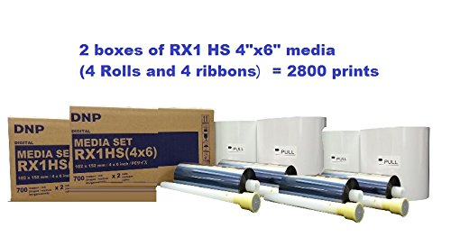 Great savings! This special offer includes TWO BOXES of DNP media RX1HS size 4x6''. Total of 2800 prints. by DNP