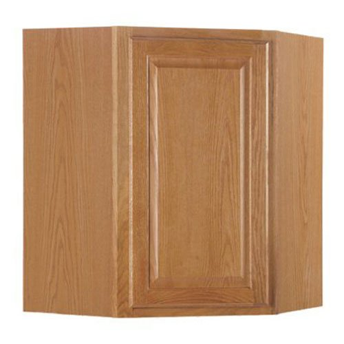 RSI HOME PRODUCTS SALES CBKWD2430-MO Medium Oak Finish Assembled Diagonal Corner Wall Cabinet, 24 x 30
