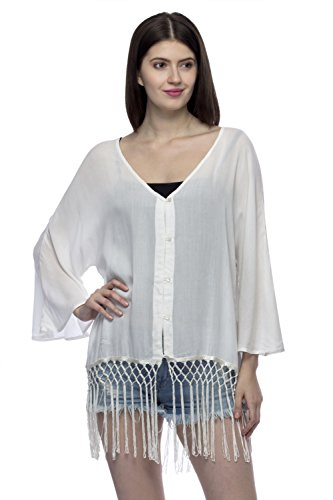 One Femme Women's Solid Fringe Lace Button Down Top