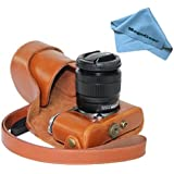 "MegaGear ""Ever Ready"" Protective Light Brown Leather Camera Case , Bag for Fujifilm X-M1 (XM1, X-a1) Compact System with 16-50mm Lens"
