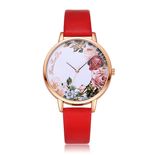 (Womens Quartz Wrist Watches,Unique Numeral Analog Clearance Lady Wrist Watch Female Watches on Sale Watches for Women,Flower Pattern of Dail Fashion Leather Band Circle Watch)