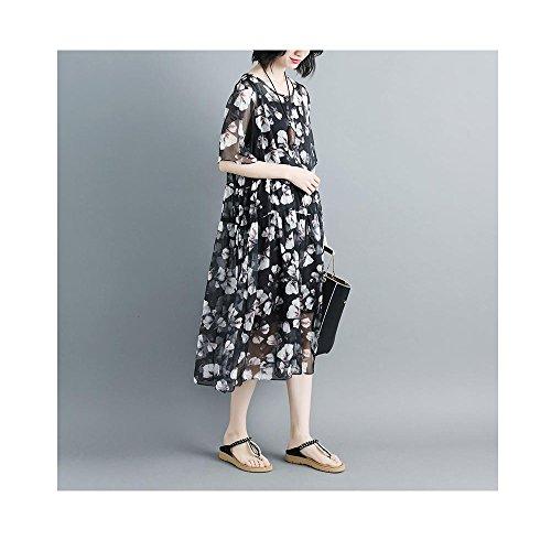 BUYKUD Short Printed Round flower Dress Loose black Neck Sleeve Women Green Uqq6RSwZ