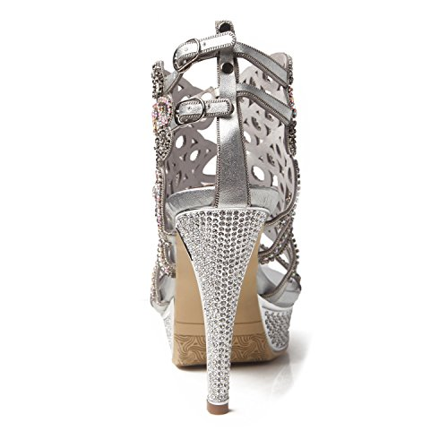 Crystal Rhinestone Sparkling Party for Silver Sandals Toe Shoes Open Chain Summer HUAN Dress Boots Women's Leather Glitter Buckle Spring Fashion xvwSUPq7F