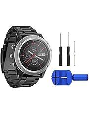 Digit.Tail - Correa de Repuesto Universal para Reloj Garmin Fenix 2 / Fenix 3 HR/Fenix 3 Sapphire, Fenix 5X (26 mm, Acero Inoxidable), Negro