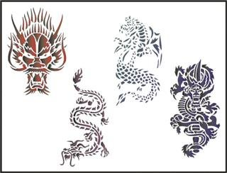 "0ea970a3c1bd6 Airbrush Temporary Tattoo Stencil Template Set Kid Size Dragons Scary  Dragon 2.5"" X 4.5"""