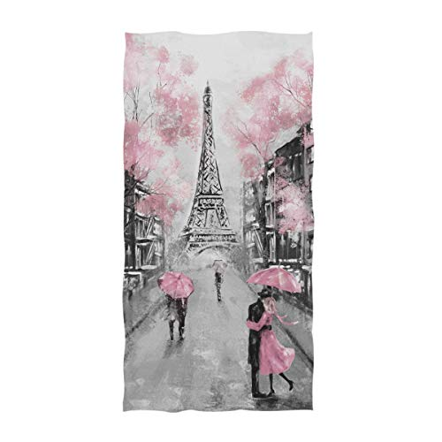 (Naanle Beautiful Street View of Paris Eiffel Tower Painting Print Soft Guest Hand Towels Multipurpose for Bathroom, Hotel, Gym and Spa (16