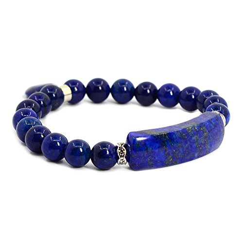 Dyed Lapis Gem Semi Precious Gemstone Love Heart Charm Stretch Bracelet