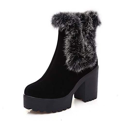 Fur Heels Chunky Ladies Nero Boots Adeesu Ornament Frosted Platform xHFSEO