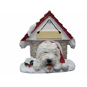 "Old English Sheepdog Dog Doghouse ""Personalized"" Christmas Ornament 20"
