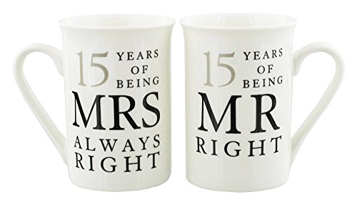 Ivory 15th Anniversary Mr Right & Mrs Always Right Mug Gift Set by ()