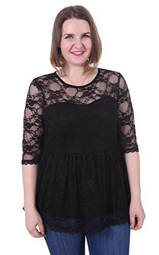 Sapphyra Women's Summer Tunic Black Scoop Neck Tunic Tops Plus Size Tees 2X