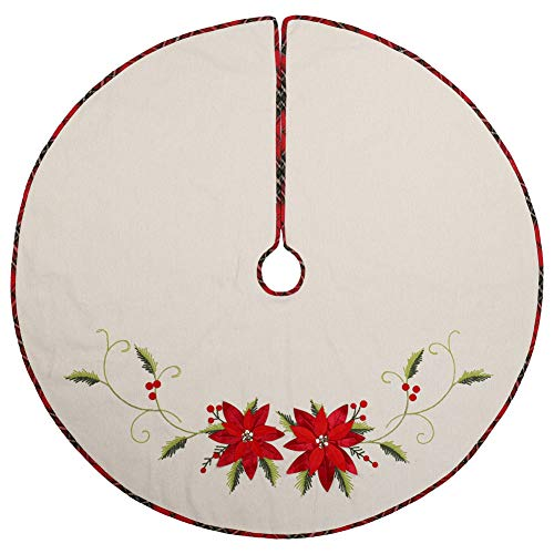 ExcMark 48 inch Burlap Christmas Tree Skirt with Christmas Flower and Tartan