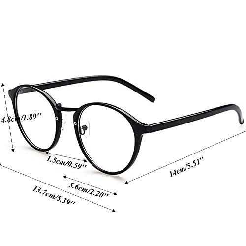 Amrka Retro Round Nerd Glasses for Women Men Vintage Eyeglasses with Round Clear Lens 56mm Unisex (Coloured glaze flower) by Amrka (Image #3)