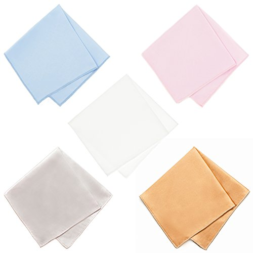 100% Silk & Satin Pocket Squares - 5 Pack - With Free eBook Pocket Square Folding Guide (Light Blue, Light Pink, White, Gold & - Kent Champagne