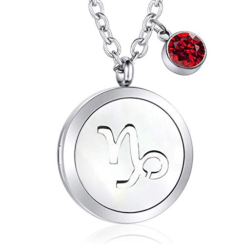 PLITI 12 Constellations Aromatherapy Essential Oil Diffuser Necklace with Birthstone Gift for Her (Capricorn) (Best Stone For Capricorn)