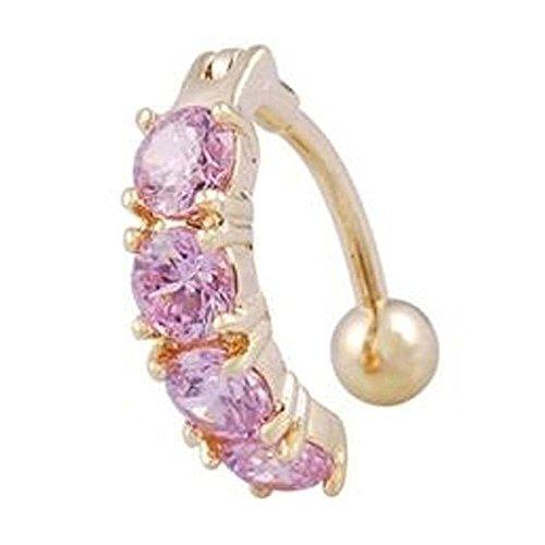 Anneau de nombril - SODIAL(R) Clous de nombril cristal strass anneau de corps bijoux (rose)