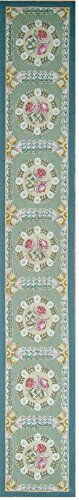Aubusson Wool Runner (Pasargad Aubusson Hand-Woven New Zealand Wool Runner- 2' 2