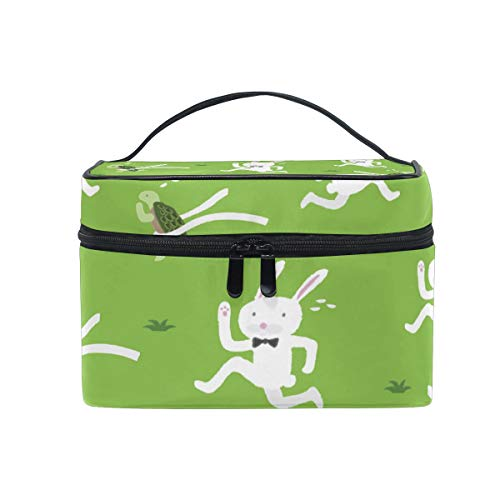 (Travel Cosmetic Bag Tortoise Rabbit Racing Green Toiletry Makeup Bag Pouch Tote Case Organizer Storage For Women Girls)