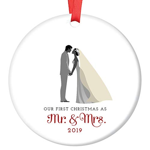 Ideas Christmas Ornaments - Mr & Mrs Ornament 2019 First Christmas Married Couple Ceramic Collectible Gift Idea for Bride & Groom Newlyweds 1st Holiday Season Wed 3