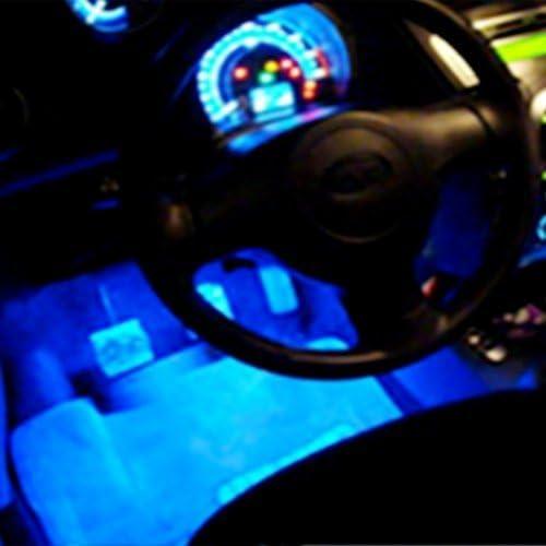 TOOGOO 4 Luz Neon 3 LED en Azul para interior de coche Rotativo R