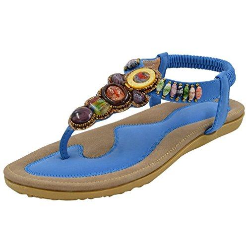Sintética Azul Lazutom De Para Sandalias Piel Mujer 04xtxCzw