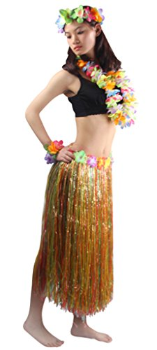 5pcs/ Set Women's Hawaiian Luau 80cm Multicolor Grass Hula -
