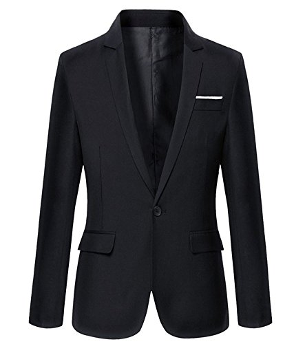 Mens Slim Fit Casual One Button Blazer Jacket (M, Black)